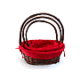 Oval Baskets With Red Liner & Handle set