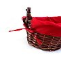 Oval Baskets With Red Liner & Handle Close