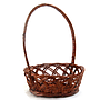 "Round Brown Basket With Handle 10"" x 4"" side"
