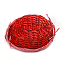 "Oval Red Basket with Liner and Handles 15"" x 12"" x 5"" bottom"