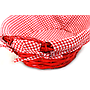 "Oval Red Basket with Liner and Handles 15"" x 12"" x 5"" close"
