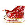 "Red Metal Sleigh With Snowflakes 11¼"" x 5¾"" x 7½"" front"