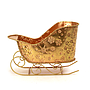 "Gold  Metal Sleigh With Snowflakes 11¼"" x 5¾"" x 7½"" front"