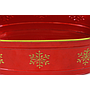 Red Oval Metal Planter With Snowflakes and Handles close