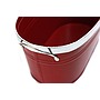 "Red Oval Metal Planter With Handles 10½"" x 5¾"" x 4¾""close"