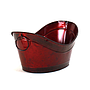 "Red Oval Metal Planter With Handles 11.75"" x 6.75"" x 3.5""side"