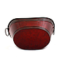 "Red Oval Metal Planter With Handles 11.75"" x 6.75"" x 3.5""bottom"