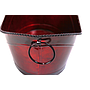 "Red Oval Metal Planter With Handles 11.75"" x 6.75"" x 3.5""close"