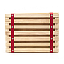 Wood Crates with Red Faux Leather Straps Top