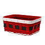 "Rectangular Red Basket ""Santa's Belt""  10"" x 7"" x 4"" side"