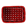 "Rectangular Red Basket ""Santa's Belt""  10"" x 7"" x 4"" top"