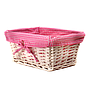 "White Baby Basket With Pink Lining 12"" x 8½"" x 5½"" side"