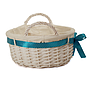 "White Round Basket With Handles & White Liner & Blue Ribbon 13"" x 5½"" side"