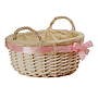 "White Round Basket With Handles & White Liner & Pink Ribbon 13"" x 5½"" side"