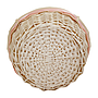 "White Round Basket With Handles & White Liner & Pink Ribbon 13"" x 5½"" bottom"