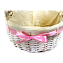 "White Round Basket With Handles & White Liner & Pink Ribbon 13"" x 5½"" close"