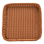 "Square Plastic Basket 18"" x 18"" x 3""browntop"
