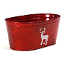 "Red Oval Metal Basket with Reindeer 14"" x 7.75"" x 6"""