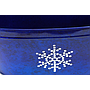 "Royal Blue Oval Meal Basket with Snowflake 14"" x 7.75"" x 6"""