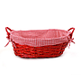 "Oval Red Basket with Liner and Handles 15"" x 12"" x 5"""