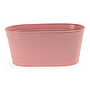 "Oval Pink Metal Planter 13½"" x 7½"" x 6"""