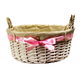"White Round Basket With Handles & White Liner & Pink Ribbon 13"" x 5½"""