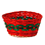 "Red and Green Round Basket  9"" x 9"" x 4"""